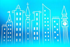 Toy town in the wall paper. Blue town back ground in wall paper vector illustration