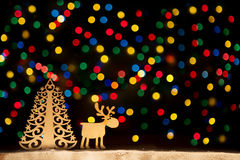 Toy town - Xmas lights stars, Christmas tree, vintage wooden dec Stock Photos