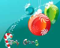Toy toys. On strings, in the corner of the logo and the inscription Merry Christmas Royalty Free Stock Photos