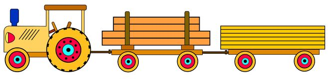 Toy tractor with trailers stock illustration