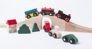 Toy traffic with car and train Royalty Free Stock Images
