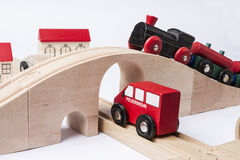 Toy traffic with car and train Royalty Free Stock Photo