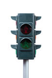 Toy traffic light isolated on white background Stock Photos
