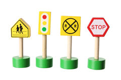Toy Traffic Signs. On White Background stock image