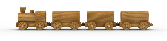 Toy Train 02. Wooden toy train isolated on a white background. Part of a series Stock Photography