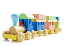 Toy train. Made of wood isolated on a white background Royalty Free Stock Photography
