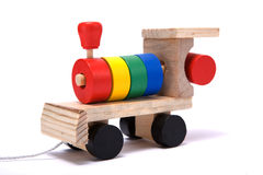 Toy train. Isolated wooden childrens toy train Stock Images