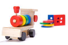 Toy train. Isolated wooden childrens toy train Royalty Free Stock Images