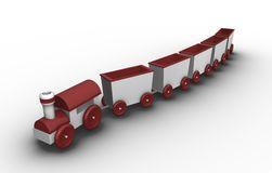 Toy train. With 5 carriages; 3D rendered illustration Stock Photography