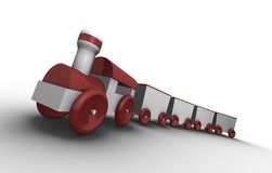 Toy train. With 4 carriages; 3D rendered illustration Royalty Free Stock Photography