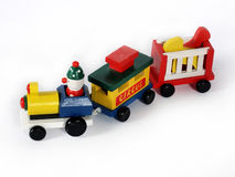 Toy train. Wooden toy train with clown and circus animals Royalty Free Stock Image