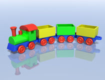 Toy Train. Illustration of a toy train on a shiny surface Royalty Free Stock Images