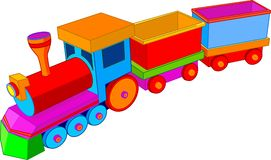 Toy train. Beautiful multi colored toy train Stock Photos