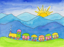 Toy train. Watercolor painting of a colorful toy train in the mountains - for kids birthday cards Stock Image