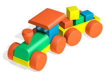 Toy train. The three-dimensional image of a toy train on a white background Royalty Free Stock Images