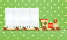 Toy train. With paper. Template for a text Royalty Free Stock Image
