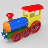 Toy train. 3d image of a colorful locomotive Royalty Free Stock Photography