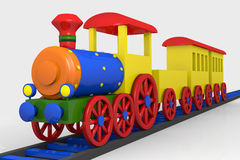 Toy train. 3d image of a colorful locomotive, wagons and railroad Royalty Free Stock Image
