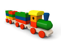 Toy train. 3D illustration of colorful wooden toy train and blocks with letters of alphabet Stock Photos