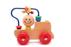 Toy train. Wooden toy train, isolated on white Stock Photography