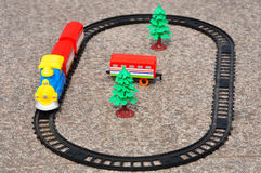 Toy train. Is running with color locomotive on the ground Stock Photos