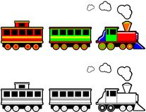 Toy Train. Cartoon illustration of a toy steam engine train in color and black and white ideal for digital stamp or decal Stock Image