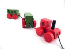 Toy train. With 3 parts connected by string Stock Image