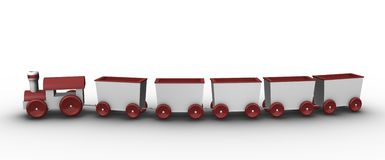 Toy train with 5 carriages. Toy train concept; high quality 3D rendered illustration Stock Photo