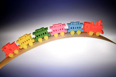 Toy train. Toy plastic train, studio shot Royalty Free Stock Photography