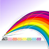 Toy Train - Abstract Rainbow Pencil Series. Toy Train And rainbow travel what a fun Royalty Free Stock Images