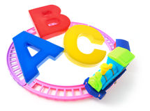 Toy Train and Alphabets Royalty Free Stock Photo
