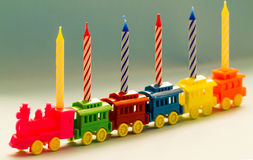 Toy Train and Birthday Candles Royalty Free Stock Image