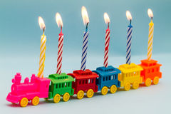 Toy Train and Birthday Candles Royalty Free Stock Photography
