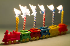Toy Train and Birthday Candles Royalty Free Stock Photo