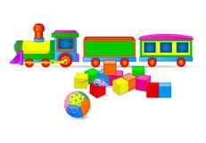 Toy Train and Blocks. Vector illustration of Toy train and building blocks Royalty Free Stock Image