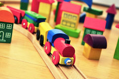 Toy Train in brick town Stock Photography