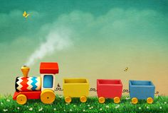 Toy train. Bright background with toy Train and green pastel landscape for greeting card or poster. Computer graphics Stock Photo