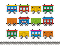 Toy train cars and track set. Toy train set - freight, mail and passenger cars and railroad track royalty free illustration
