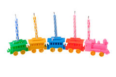 Toy train with celebrate candles Stock Image