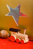 Toy train and christmas gift Royalty Free Stock Photo