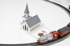 Toy train church Stock Photo