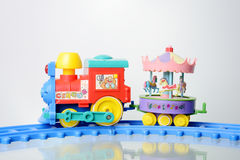 Toy train. With clown and circus animals Stock Photo