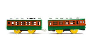 Toy train with colorful blocs. Isolated over white stock photography