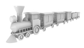 Toy train. 3d render of toy train on white background Stock Photography