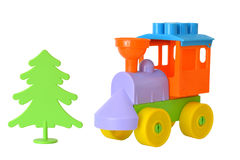 The toy train from the designer on a white isolated background Stock Photos