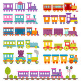 Toy train different cartoon vector illustration. Cartoon toy train with colorful blocks isolated over white vector set. Railroad and cartoon carriage game fun Stock Images