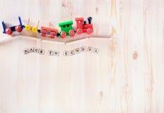 Toy Train Education tillbaka till skolabegreppet med kopieringsutrymme fotografering för bildbyråer