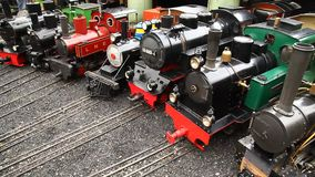 Toy train engines miniature Shed stock video