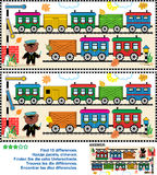 Toy train find the differences picture puzzle. Toy train visual puzzle: Find the ten differences between the two pictures  - train cars, railway, railroad Royalty Free Stock Photos