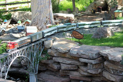Toy Train Through Garden. A model train passes through the botannical garden in Albuquerque Stock Photos